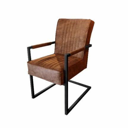 Freischwinger Stuhl David - mit Armen - Farbe braun