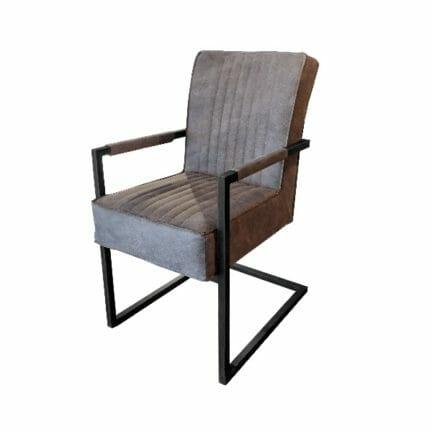 Freischwinger Stuhl David - mit Lehne- Farbe grau